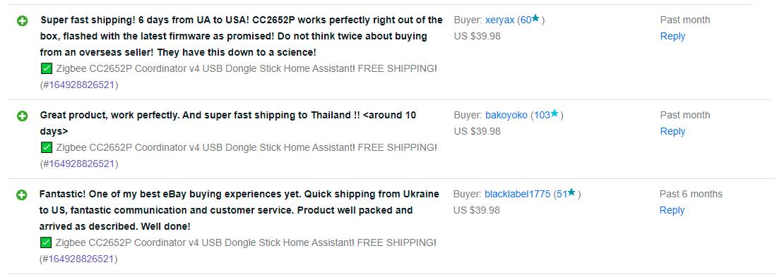 ebay zigbee cc2652p coordinator feedbacks